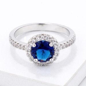 Blue CZ Pave Halo Ring
